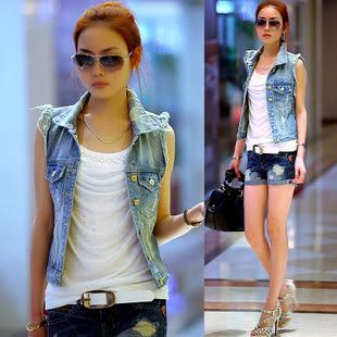 【GZ61】短版外套 韓版時尚顯瘦抓破單排釦開衫仔馬甲 無袖背心外套 夾克