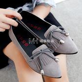 流蘇鞋   韓版平底低跟單鞋女淺口尖頭蝴蝶結套腳懶人鞋流蘇  瑪奇哈朵