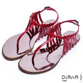 DIANA摩登時尚--層次細帶線條T字夾腳涼鞋(紅)★特價商品恕不能換貨★