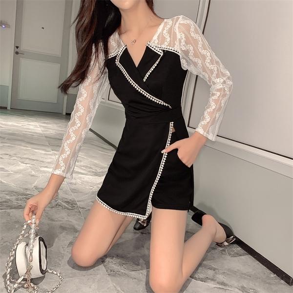 VK旗艦店 韓國風蕾絲袖拼接修身短褲套裝長袖褲裝