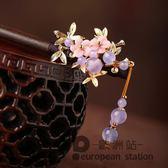 髮簪/仿古盤髮飾品中國古風紫色流蘇木簪子丸子頭漢服髮飾古裝頭飾