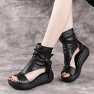 魚口鞋 2021新款涼靴女夏休閒百搭鬆糕魚嘴女鞋復古坡跟增高厚底羅馬涼鞋 韓國時尚週 免運