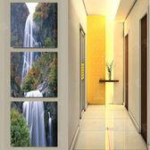 走廊裝飾畫冰晶玻璃豎版無框畫三聯畫玄關畫掛畫墻畫風景流水生財LG-67015