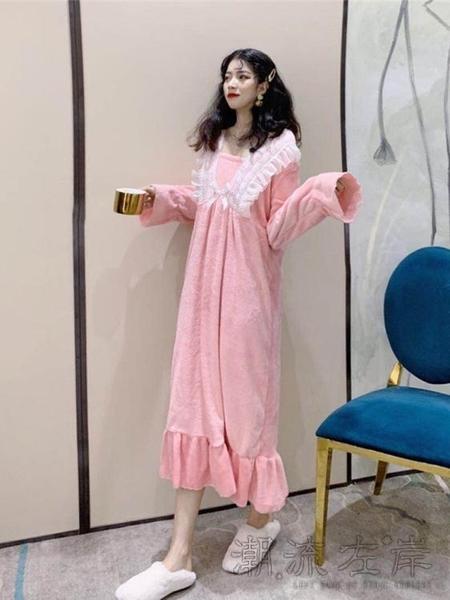 法蘭絨荷葉邊睡裙年冬秋冬新款女士韓版家居服長袖保暖連身裙