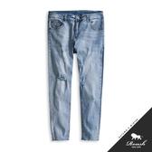 【Roush】 下擺抽鬚刷白破壞淺藍牛仔褲 -【9903】