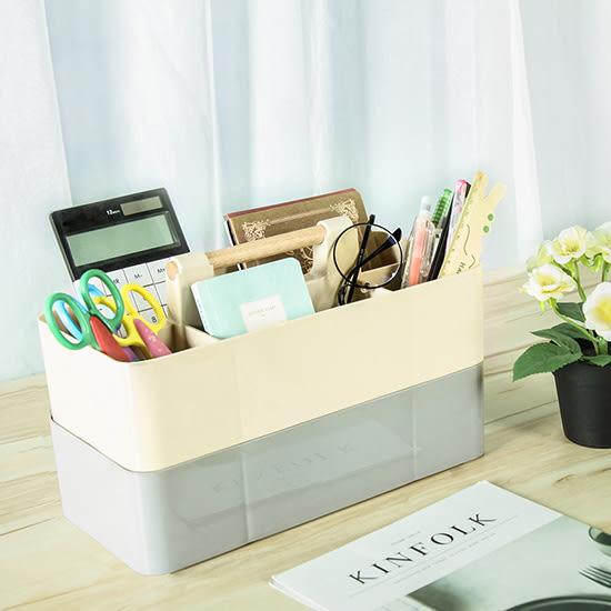 ♚MY COLOR♚木柄可疊桌面收納盒 簡約 可疊加 分格 化妝品 儲物盒 辦公室 桌面【L196】