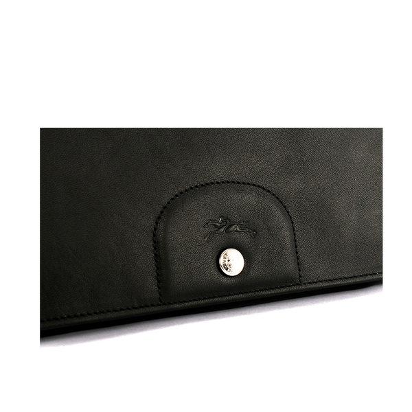 【LONGCHAMP】小羊皮對折長夾(黑色) 3146737001