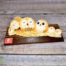 幸福六 貓頭鷹 吉祥物 開運擺飾 陶製 日本帶回
