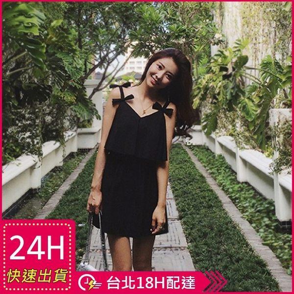 梨卡★現貨 - 沙灘度假海邊純色性感黑色顯瘦連身短裙連身裙沙灘裙C6340
