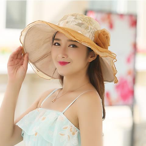 2017新款太陽帽女夏天沙灘帽戶外大沿防曬遮陽帽折疊出游涼帽花朵