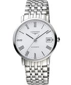 LONGINES 浪琴 Elegant 優雅系列羅馬機械腕錶/手錶-銀白/37mm L48104116