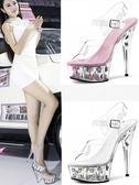 恨天高水晶高跟女鞋15cm細跟涼鞋性感厚底婚鞋模特走秀鞋 格蘭小舖
