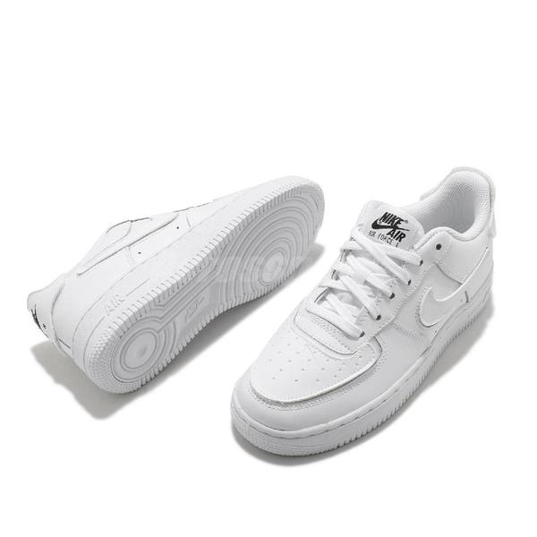 Nike 休閒鞋 AF1/1 白 全白 魔鬼氈 可換貼片 Air Force 1 女鞋 【ACS】 DB2812-100