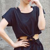 速干短袖女運動T恤夏季新款跑步健身上衣寬鬆快干衣瑜伽露臍罩衫