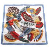 WATHNE  繽紛華麗羽毛帕巾(天藍邊)989071-5