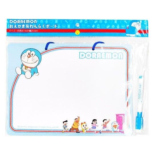 〔小禮堂〕哆啦A夢 方形可掛式留言白板附筆《藍白.任意門》記事板.告示板.銅板小物 4513750-72091