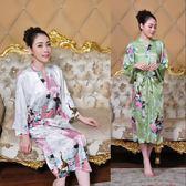 中國風女士唐裝睡衣夏季薄款性感浴衣中長款開衫式孔雀睡袍 多色 好再來小屋