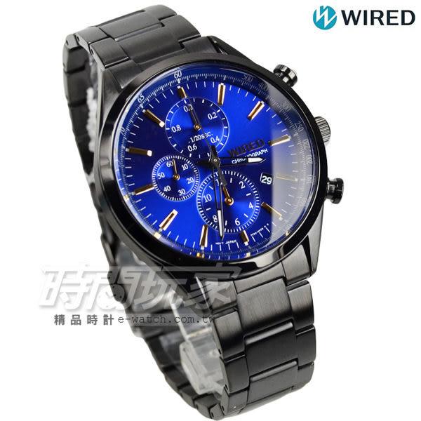 WIRED 經典前衛三眼計時腕錶 防水男錶 IP黑電鍍x藍 AY8018X1 7T92-0SM0B