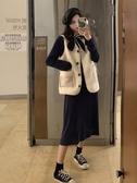 秋裝新款復古法式網紅氣質套裝中長款長袖連身裙女洋氣兩件套 雅楓居