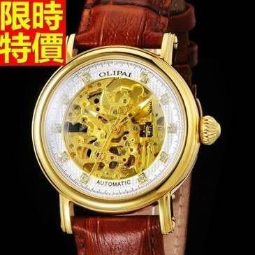 機械錶-陀飛輪自動鏤空真皮時尚商務男腕錶2色66ab24[時尚巴黎]