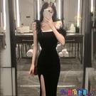 吊帶連身裙 2021春夏季新款性感修身開叉包臀羽毛吊帶連身裙內搭顯瘦裙子女裝寶貝計畫 上新