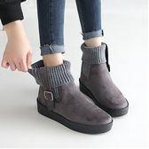 踝靴襪套短靴 正韓製 方扣襪套踝靴 - 2色可選 增高3.5公分 Made in korea 首爾冬季流行款