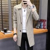 2020秋季中長款風衣男針織外套韓版修身格子男士大衣青年西裝褂子