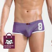 專區6件1000元_數字印花側拼接舒適棉質貼身阿羅褲版四角褲_紫色【HLK026】