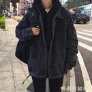 秋冬男士牛仔夾克韓版潮流工裝青少年港風寬鬆bf上衣休閒百搭外套「時尚彩紅屋」