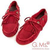 G.Ms. 牛麂皮綁帶流蘇休閒豆豆鞋-紅色