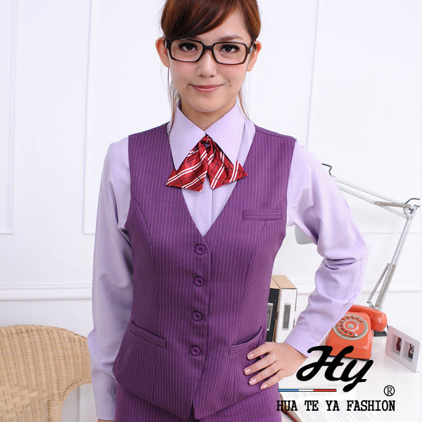 【大尺碼-HTY-13B-A】華特雅-亮眼活力OL辦公室女背心(葡萄紫白條紋)