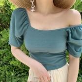 一字肩上衣法式方領上衣女夏裝2020年新款一字肩泡泡袖短袖冰絲針織短款t恤 雙11 伊蘿