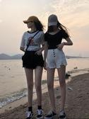 黑白色高腰牛仔短褲女夏季韓版顯瘦百搭學生寬鬆胖mm闊腿超熱褲潮 玫瑰