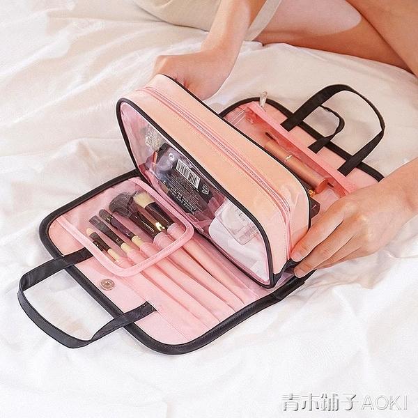 ins網紅化妝包小號便攜韓版簡約大容量化妝盒少女心化妝品收納袋「青木鋪子」