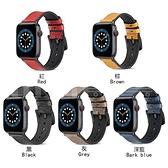 apple watch 1-6 適用iwatch 6/5/4/3/2/SE錶帶荔枝紋油蠟皮錶帶 蘋果矽膠貼皮錶帶