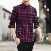 男長袖襯衫秋季長袖格子襯衫韓版百搭格子修身男裝襯衣