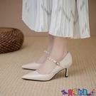 高跟鞋 高跟鞋女細跟2021年新款百搭瑪麗珍女鞋復古鉚釘一字扣帶春季單鞋新品