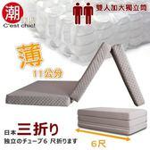 【C est Chic】日式三折獨立筒彈簧床墊6尺(知性灰)
