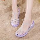洞洞鞋女防滑厚底學生韓版塑料沙灘舒適坡跟中跟包頭果凍鞋涼拖鞋