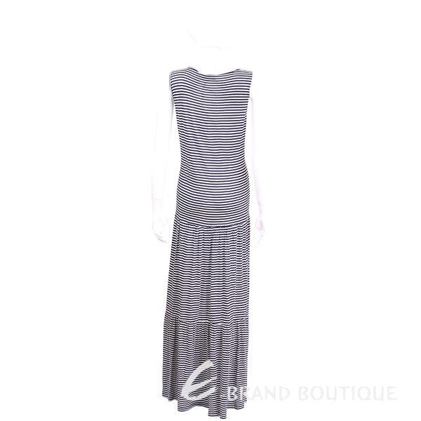 ANNA RACHELE 藍白條紋蝴蝶結飾棉料無袖長洋裝 1620469-37