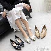 韓版復古尖頭橡膠軟軟底早秋新款淺口矮跟鞋單鞋便鞋女鞋 雙十二特惠