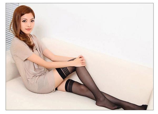 ÷情趣絲襪÷歐美情趣女式性感透明制服誘惑條紋吊帶襪長筒襪黑絲襪批7206