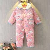 新年好禮85折 冬季兒童寶寶小孩加厚夾棉保暖法蘭絨睡衣家居服男女童珊瑚絨套裝