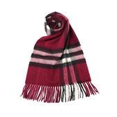 BURBERRY經典格紋喀什米爾羊毛圍巾(梅紅色)089510-13