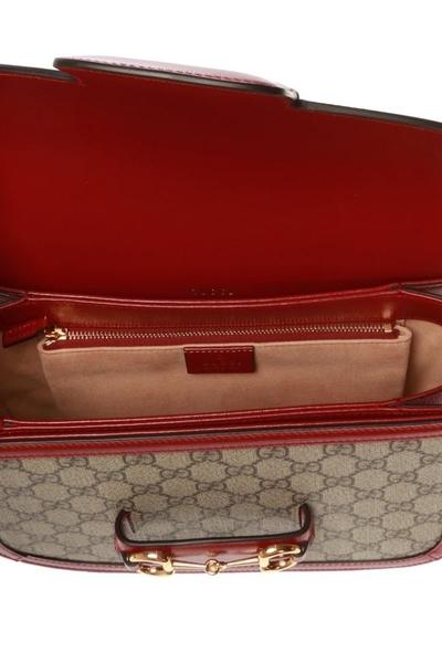 ■專櫃88折■ Gucci 全新真品 1955馬銜釦 Horsebit 小牛皮馬鞍包 GG帆布及皮革 紅色