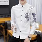 男士長袖襯衫中國風開衫上衣青少年韓版修身潮流加絨保暖襯衣男裝 果果輕時尚