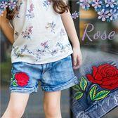 夏艷紅玫瑰鬚邊反摺牛仔褲短褲(250125)★水娃娃時尚童裝★