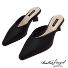 穆勒跟鞋 極簡美型小方頭穆勒跟鞋(黑)*BalletAngel【18-0045-1bk】【現貨】