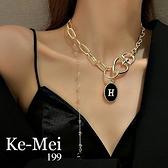 克妹Ke-Mei【AT67157】歐美時尚字母愛心鎖精緻鎖骨頸鍊