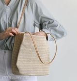 編織包 韓國百搭休閒草編織側背水桶包ins夏季旅遊沙灘手提女草編包 維科特3C